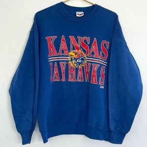 KANSAS KU JAYHAWKS  blue sweatshirt size LARGE